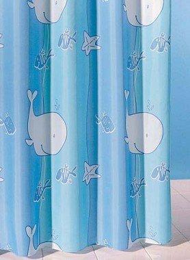 Textil-Duschvorhang Wahlfisch blau