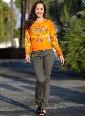 5-Pocket-Jeans, verzierte Taschen