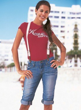 Bermuda-Jeans, Hosenträgern