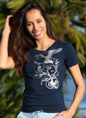 Kurzarm-Shirt, Silber-Print