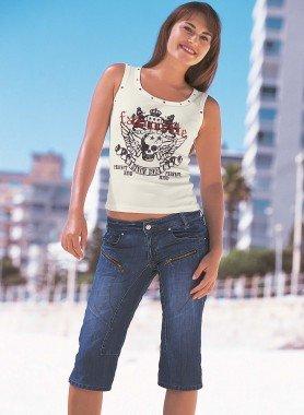 Capri-Jeans, Reissverschluss Blue-Denim