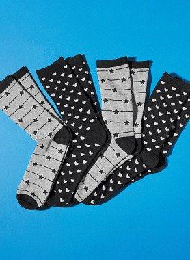 Damen-Socken Stern/Herzli-Motiv, 4 Paar