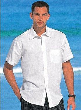 Kurzarm-Leinen-Hemd, uni