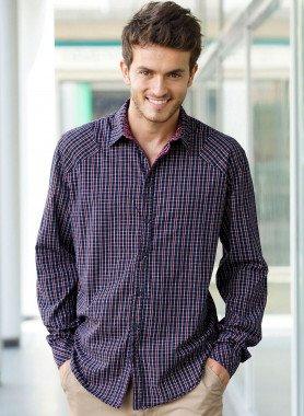 Langarm-Hemd gewobene Karo-Qualität