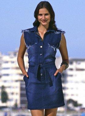 Jeans-Kleid, Fransen