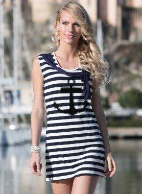 "Aermelloses-Kleid ""Anker-Print"""