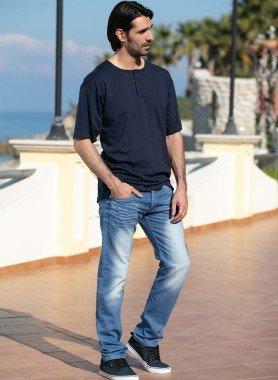 5-Pocket-Jeans trendige Sitzfalten