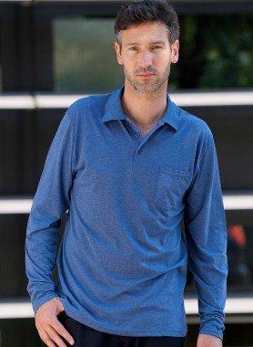 Langarm-Polo-Shirt, Knopfleiste