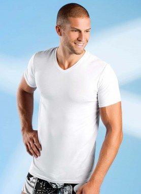 Kurzarm-Shirt, V-Auschnitt, mit Modal, 3 Stück