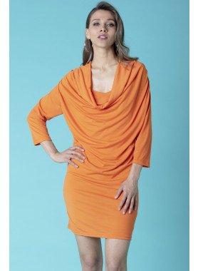 Kleid 3/4 Arm, Wasserfall-Ausschnitt