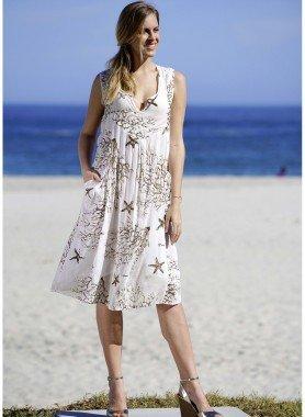 Ärmelloses-Kleid,Seestern/Korallen-Print