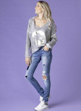 5-Pocket Jeans Loch-Applikationen