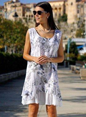 Aermelloses-Kleid,Floral-Print grau/blau