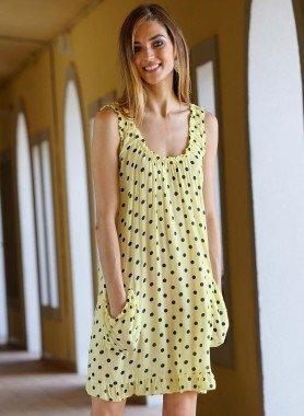 Ärmelloses-Kleid, Tupfen
