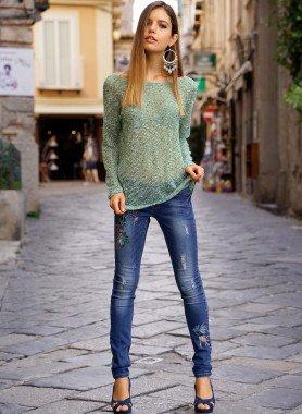 5-Pocket-Jeans, bemalt