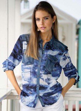 Langarm-Bluse, Jeans Look