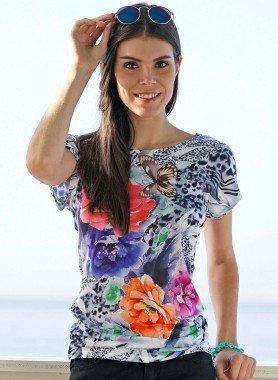 Kurzarm-Shirt, Blumen/Schmetterling