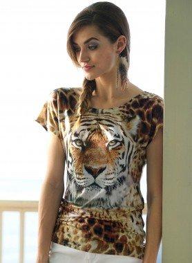 Kurzarm-Shirt,Tiger-Print