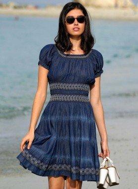 Kurzarm-Kleid, Jeans-Optik