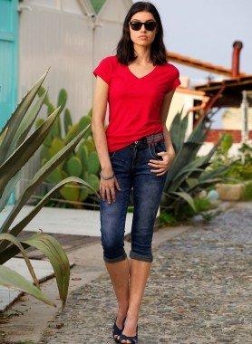 5-Pocket-Capri-Jeans, Stickereiverzierung