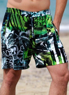 Shorts, Beach-Print grün