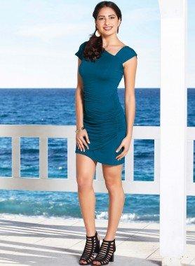 Kurzarm-Kleid, asymmetrischer Schnitt