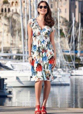Kurzarm-Kleid, Blumen
