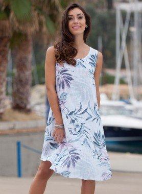 Aermelloses-Kleid, Blatt-Motiv