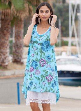 Aermelloses-Kleid, Blumen