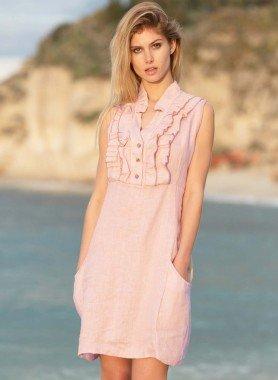 Aermelloses-Kleid, Rüschen
