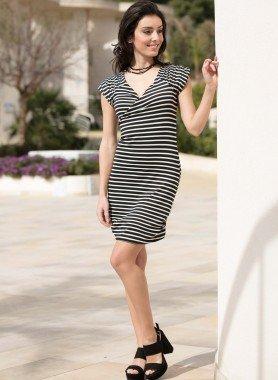 Kurzarm-Kleid, Blockstreifen