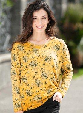 Langarm-Pullover, Floral-Dessin