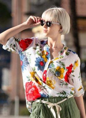 3/4-Arm Bluse, Floral Print