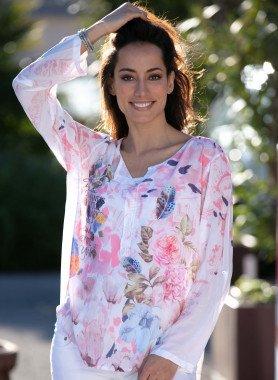 Langarm-Bluse, Flamingo