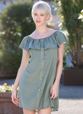 Aermelloses-Kleid, Knopfleiste