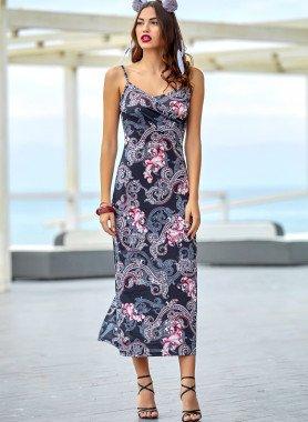 Träger-Kleid, lang Motiv-Dessin