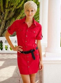 D-Kleid,Jeans-Look rot L 023 - 2 - Ronja.ch