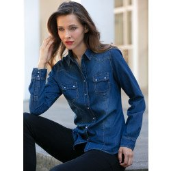 Langarm-Jeans-Bluse