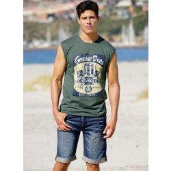 Herren-Bermuda-Jeans,mit Umschlägen Blue-Denim