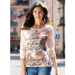 Langarm-Shirt Rosen/Schrift-Print