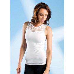 Damen-Top ärmellos, Schulterpartie mit Spitze, 3 Stück