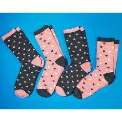 Damen-Socken, gewobene Herzli/Tupfen, 4 Stück