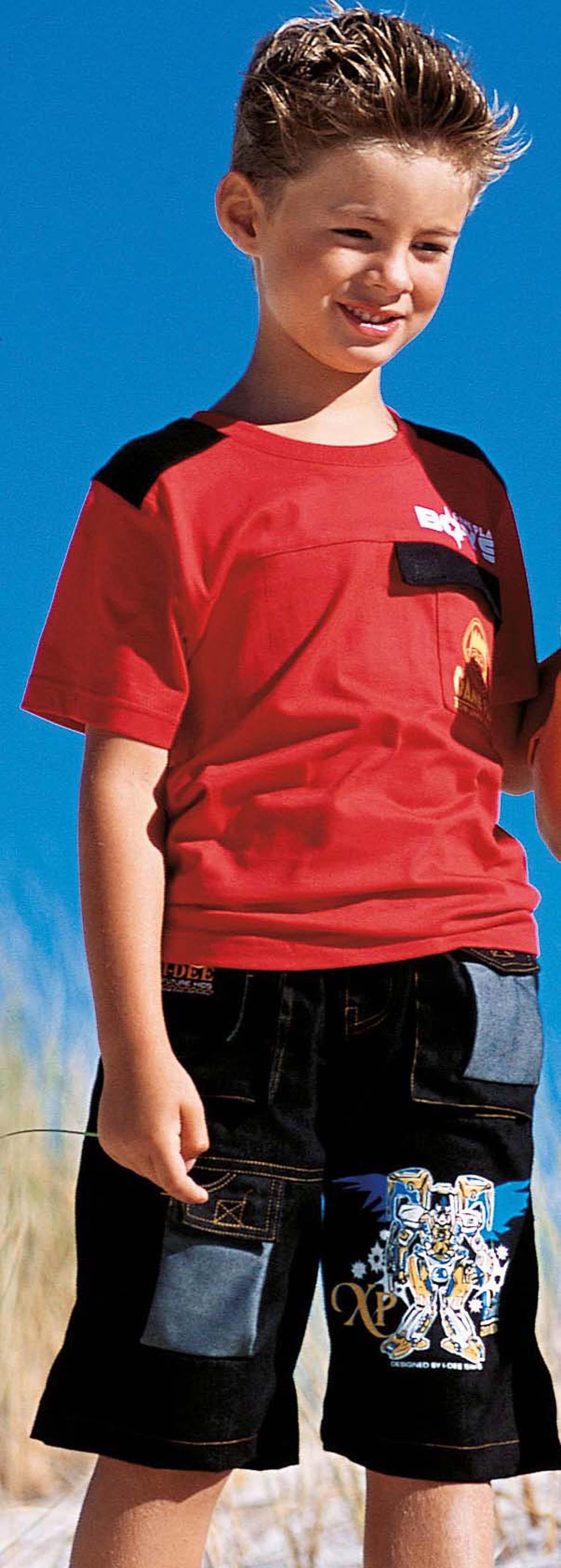 KN-Set Shirt+Short,rot/schwarz 98 - 1 - Ronja.ch