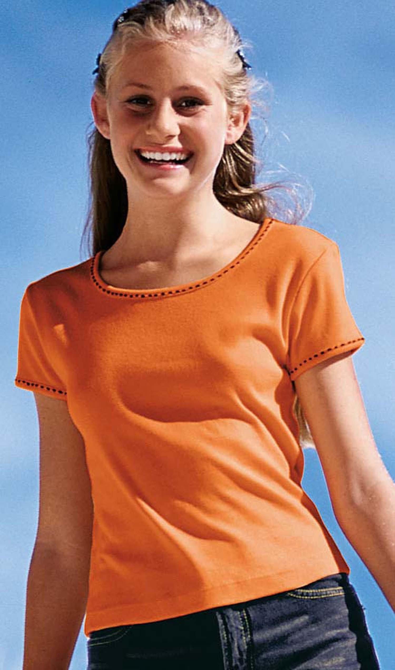 MD-Shirt, Kontrast-Stick weiss 128 001 - 1 - Ronja.ch