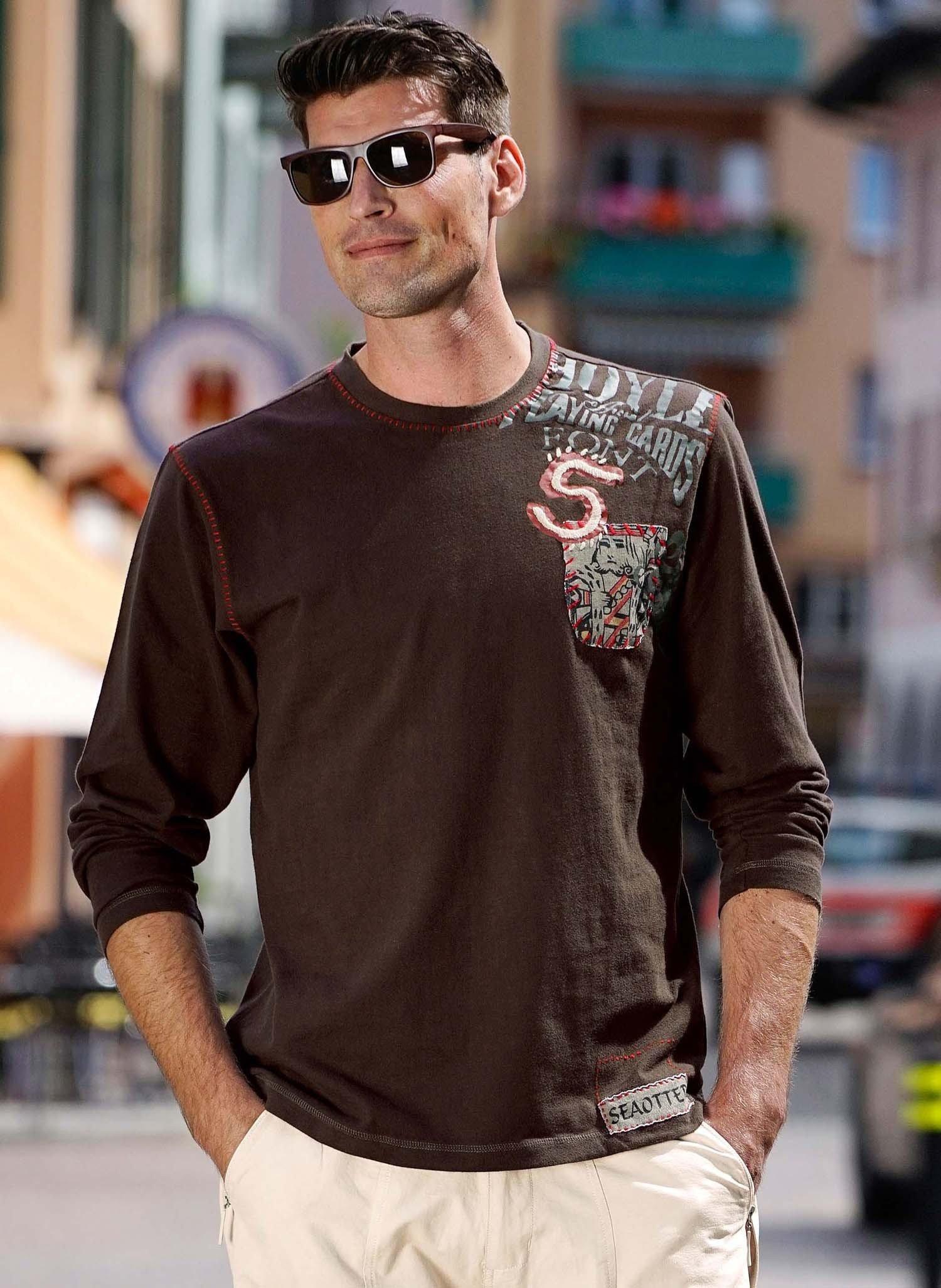 H-LA-Shirt-rote Ziernäht.braun L - 1 - Ronja.ch
