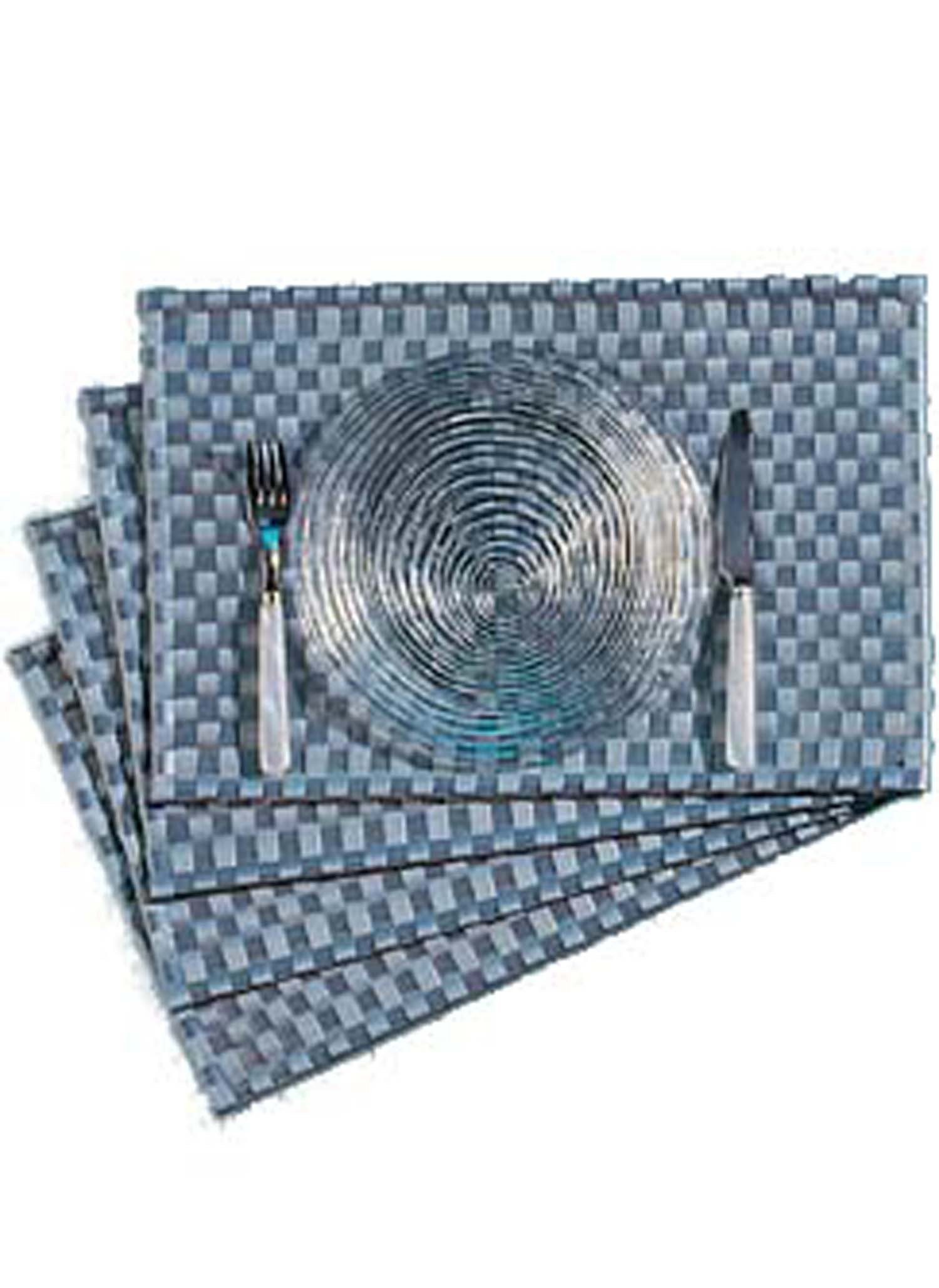 Set de table tissé, gris, 4pcs