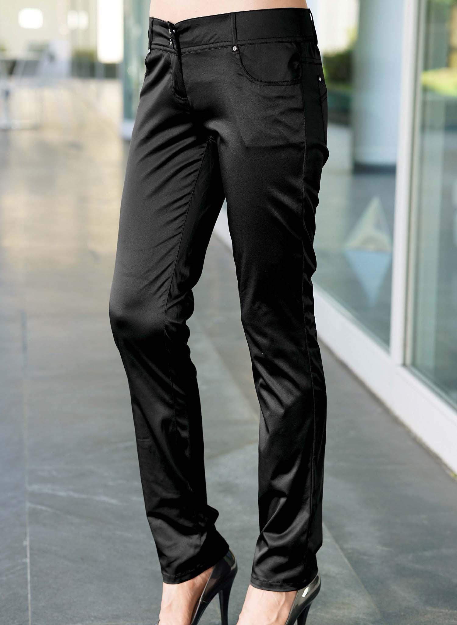 D-Pantalon satin,5p. noir