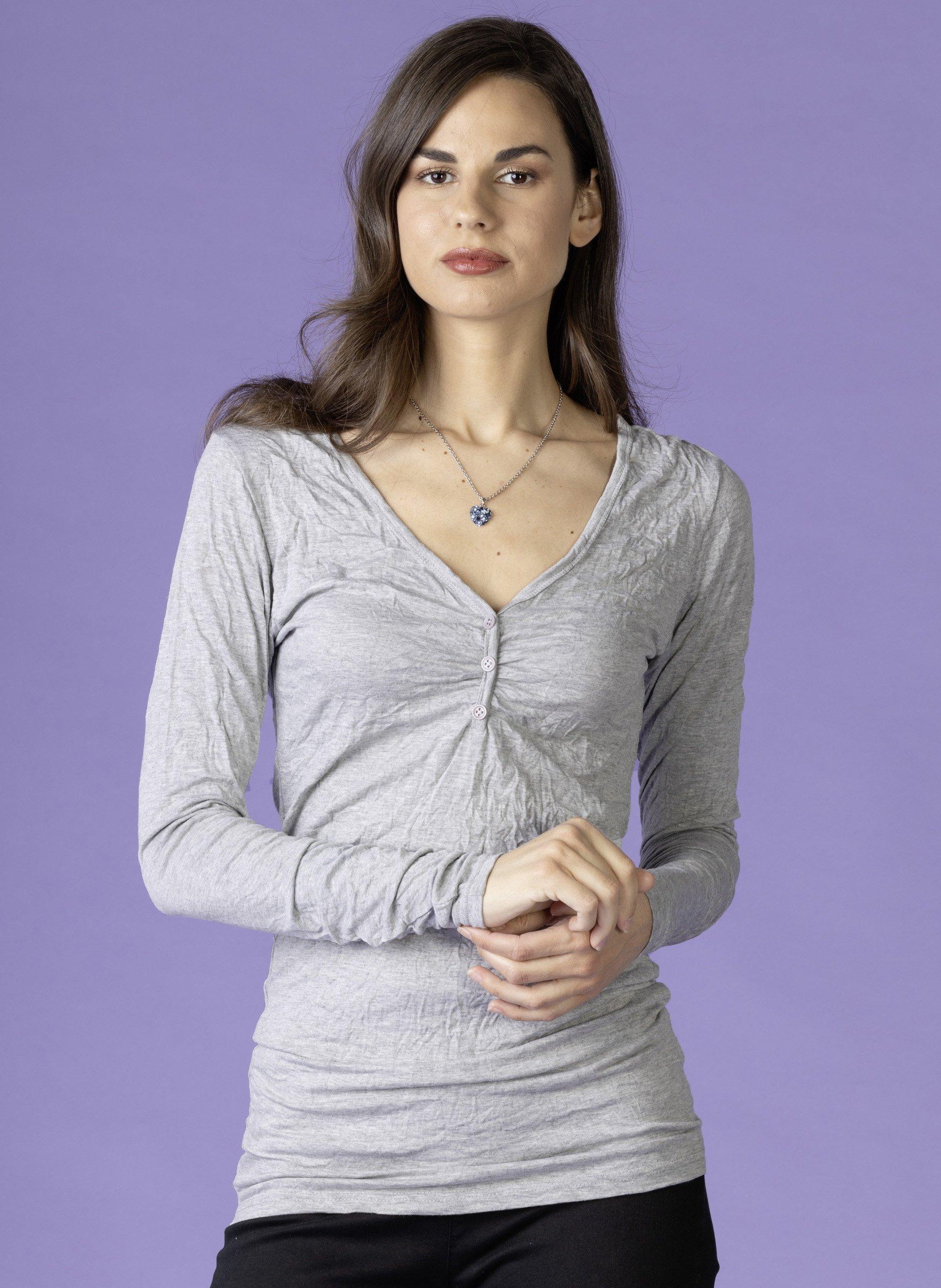 D-LA-Top,Knitter-Look,grau mel L 004