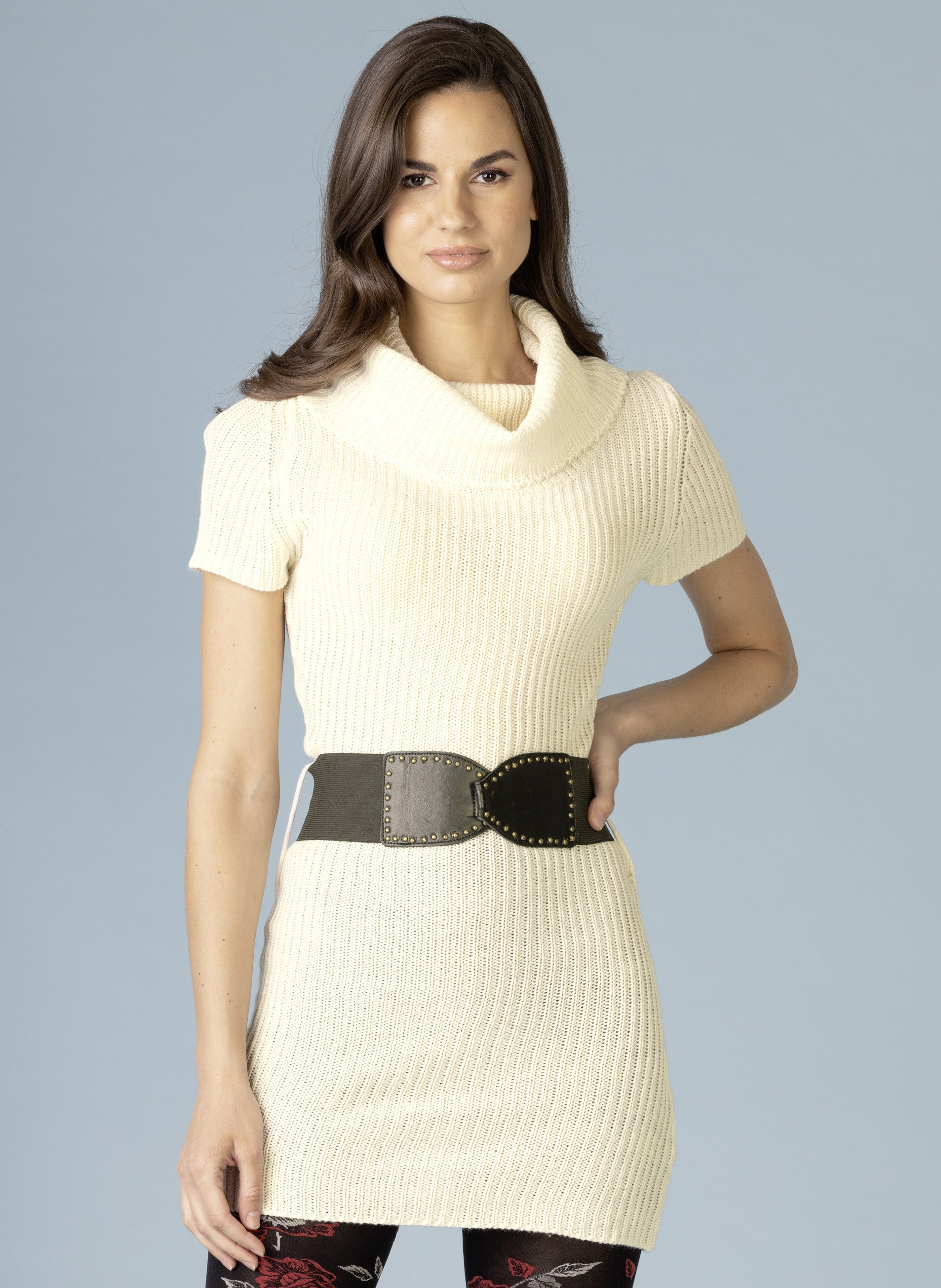 D-Strick-Kleid,Gurt natur L 081