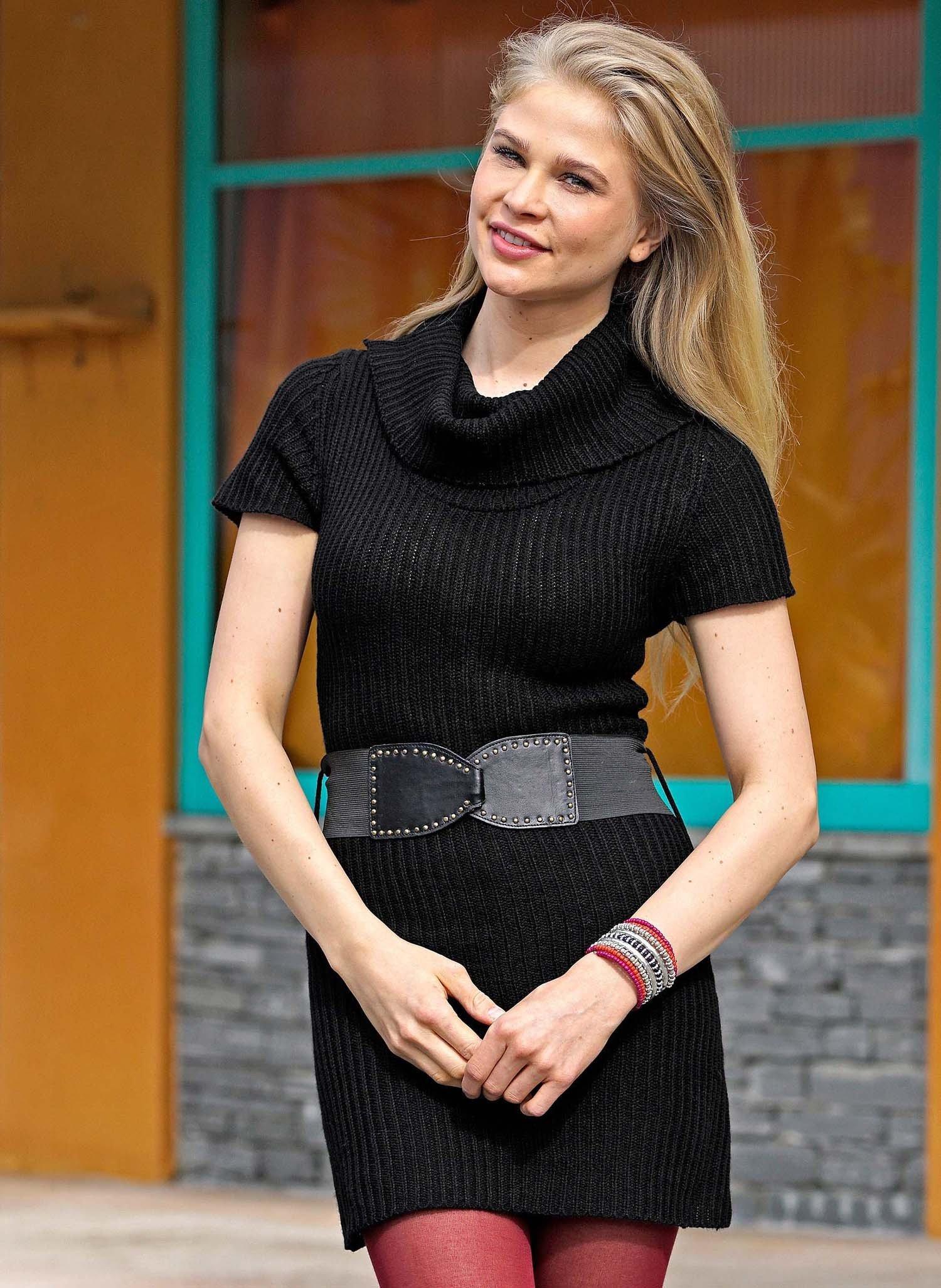D-Strick-Kleid,Gurt schwarz XL 010 - 1 - Ronja.ch